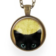 Cute Black Kitty Cat Necklace, halloween necklace – CellsDividing