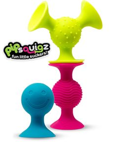 pipSquigz by Fat Brain Toy Co. -- These tactile little suckers press and pop with their fun suction cups, they rattle and plop and stay put on high chairs or stroller trays. A best toy for sensory engagement.