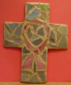 Breast cancer awareness clay mosaic cross w/ pearl clay