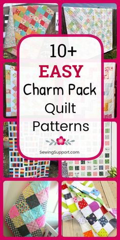 Easy quilt patterns using charm pack fabric bundles (5 inch squares). Eleven free diy projects and tutorials simple enough for a beginner to sew. #sewingsupport #quilts #quilting #quiltpatterns