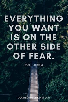 """Everything you want is on the other side of fear."" - Jack Canfield  #fear #fearfollowers #dowhatyoulove"