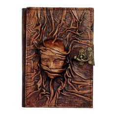 Brown Refillable Small Leather Journal With Embossed Scarfed Woman / Notebook / Diary / Vintage Style / Lock