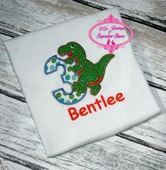 Dinosaur Birthday embroidered shirt Boy or Girl. Numbers 0-9 available. T-shirt…