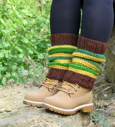 Knitted Legwarmers Green Brown Yellow Knit Boot by EmofoFashion, $34.00