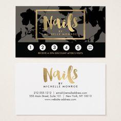Black Floral Gold Text Nail Salon Gray Loyalty Business Card