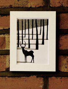 Image of Deer Lino Print - Arlen Yexley Linocut Prints, Art Prints, Block Prints, Lino Art, Linoprint, Stamp Printing, Deer Print, Woodblock Print, Art Techniques