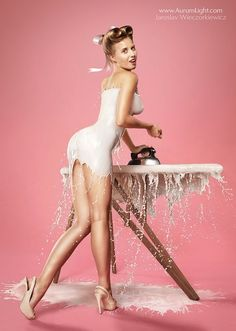Milk-Splashed Pinup Girls - The 'Milky Pinups' Feature Dresses Made from Splashed Milk (GALLERY)