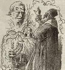 "Rabbi Loew and the Golem,"" Ink on paper, by Mikolas Ales. From: Kalender Cesko-Zidovsky, Prague, Prague, Avatar, The Golem, Japanese Mythology, Modern Halloween, Mystique, Gothic Horror, Blade Runner, Middle Ages"