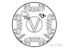 Mandalas del abecedario para colorear: Letra U