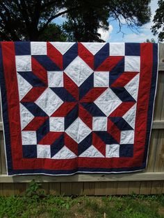 Red White and Blue Lap Quilt by MollyRoseQuilts on Etsy, $200.00