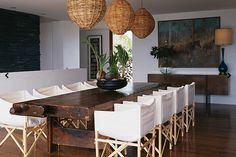 Suzie: Sarah Davidson Interior Design - Lovely dining room with glossy wood dining table, ...