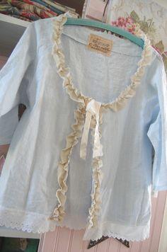 Blue Pin Stripe Linen Jacket Shabby Chic Vintage by OfLinenandLace, $48.50
