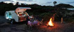 Gidget Retro Teardrop Camper_camping Bay of Fires Gidget Retro Teardrop Camper, Teardrop Camper Trailer, Tiny Camper, Camper Trailers, Travel Trailers, Camper Life, Retro Caravan, Retro Campers, Vintage Campers