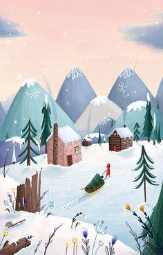 BRINGING HOME THE TREE - winter-illustration-christmas-illustration.jpg (646×1009)