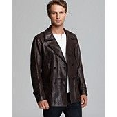 Vince Double-Breasted Leather Car Coat