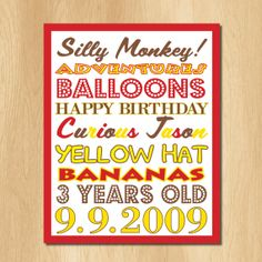Curious George  Birthday Party Subway Art Sign  DIY. $7.00, via Etsy.