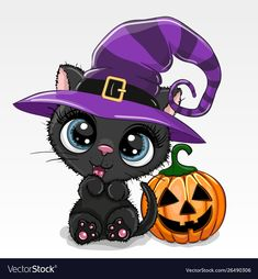 Halloween illustration of Cartoon cat with pumpkin on a white background. Cute Halloween illustration of Cartoon cat with pumpkin on a white background vector illustration Halloween Cartoons, Chat Halloween, Halloween Mignon, Image Halloween, Halloween Prints, Cute Halloween Drawings, Halloween Vector, Halloween Illustration, Illustration Cartoon