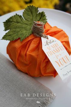 I'm in the process of finishing up our Thanksgiving pumpkin place cards and favors. The pumpkins are made with tissue paper and filled with chocolate leaves and turkeys which were wrapped in beautiful foil colors. I'm using three different autumnal. Thanksgiving Favors, Thanksgiving Place Cards, Thanksgiving Table Settings, Thanksgiving Parties, Thanksgiving Decorations, Fall Place Cards, Thanksgiving Prayer, Thanksgiving Traditions, Thanksgiving Outfit
