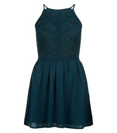 Teens Green Floral Print Lace Panel Dress  | New Look