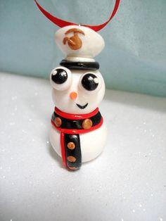 Military Christmas Ornament Marine Corps Snowman Ornaments Polymer Clay Christmas USMC