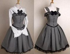 women gothic lolita jumper grey dress victorian costume cosplay lace up gray. - Mundane clothes and sewing - Pretty Outfits, Pretty Dresses, Beautiful Dresses, Cute Outfits, Emo Outfits, Kawaii Fashion, Cute Fashion, Emo Fashion, Rock Fashion