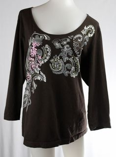 CHICO'S 3 Large Brown Floral Embroidered 3/4 Sleeve Beaded Stretch Shirt #Chicos #KnitTop #Casual