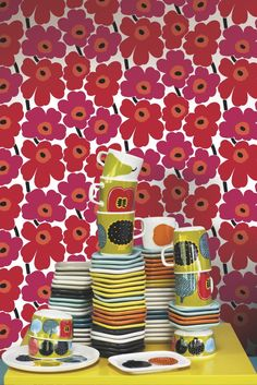 The classic Marimekko fabric design, created in a smaller scale wallpaper design.