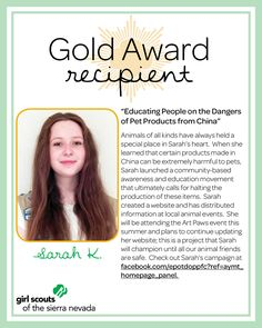 Meet Sarah, one of GSSN's Gold Award Recipients!