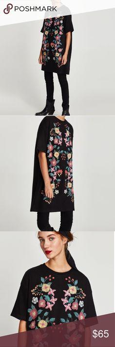 Zara floral dress Floral embroidery Zara Dresses