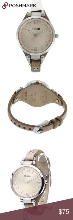 Fossil Georgia Stainless Steel Watch Leather Band New! Comes in original case. One size fits most. Delicately shaped, but versatile enough to be worn every day. Features a slim 100% genuine leather strap finished with signature stainless steel hardware. Style ES2830. Adds the perfect feminine touch. Ships in 1-2 days! Free gift with every purchase. Feel free to ask any questions. Bundles (discount) and offers are always welcome. 😘❤ Fossil Accessories Watches
