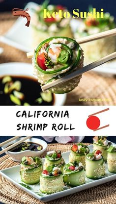 Easy Keto Shrimp California Sushi Roll - it is low in carbs, tastes great, and will dazzle at your next dinner party. The perfect small plate! Low Carb Chicken Recipes, Healthy Low Carb Recipes, Seafood Recipes, Keto Recipes, Healthy Snacks, Cooking Recipes, Sushi Roll Recipes, Cucumber Recipes, Cucumber Sushi Rolls