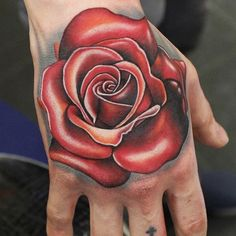 Realism rose tattoo on hand by Phatt German Rose Hand Tattoo, Hand Tats, Rose Tattoos, Black Tattoos, Arm Tattoo, Body Art Tattoos, Tattoos For Women, Tattoos For Guys, Sweet Tattoos