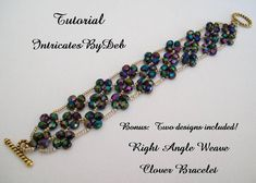 Tutorial for Beaded Right Angle Weave Clover Bracelet - DIY Tutorial, PDF Pattern