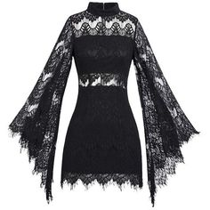 Gothic Black Lace Flare Sleeves Sexy Mini Dress (£36) ❤ liked on Polyvore featuring dresses, sexy gothic dress, sexy goth dress, lace cocktail dresses, lace mini dress and sexy short dresses