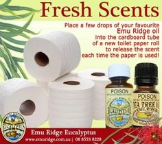 Here's a quick idea to freshen up the loo,  save a few dollars as well! Click here to order Emu Ridge 100% Australian grown & made Eucalyptus Oil, buy Australian made today!