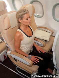 I like to keep up my fitness routine when I travel!   Healthy airplane yoga for the busy business traveler. Would you do a mini yoga flow next time you fly