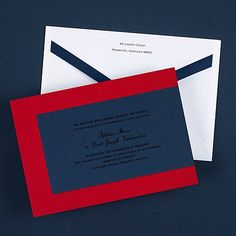 Red White and Blue Wedding Ideas - Modern Style Invitation - Midnight (Invitation Link - http://occasionsinprint.carlsoncraft.com/Weddings/Invitations/3149-RRN4236MD-Modern-Style-Invitation--Midnight.pro)