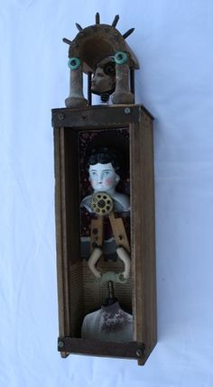"""Nervous Breakdown"" by Steve Hosch. 17 X 4.5 X 4"" mixed media assemblage in old drawer. SOLD."