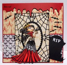 "Halloweencard featuring ""Vampire Queen"" from Kraftin' Kimmie Stamps, created by Deborah Deruyck"
