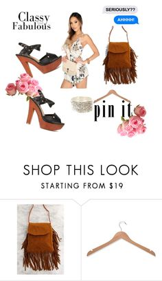 """""""Seriously Fabulous"""" by amiclubwear ❤ liked on Polyvore featuring Honey-Can-Do, fringe, ChunkyHeels, floralromper and diamondbracelet"""