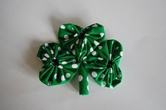 Shamrock pin made from fabric yo-yos