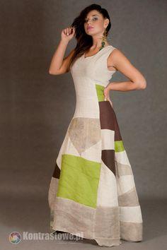 203a3655df lniana sukienka patchwork - Estera-Grabarczyk - Sukienki ekologiczne
