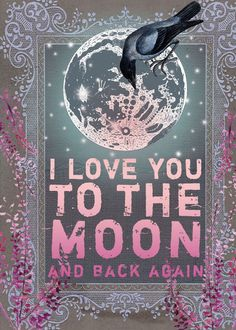 By Anahata Katkin. Two of my favorite things: crow (aka my nickname) and the moon. And of course, love.