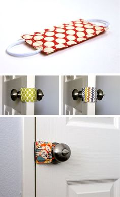 Door knob/latch silencer or a keep your 1 year old from shutting himself in his room and then screaming stopper<3