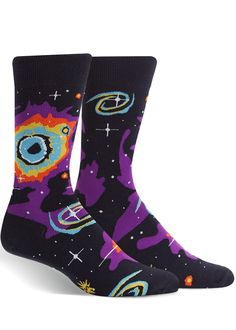 Astronaut Lost In Space Cool Colorful Design Creative Sport 3D Printed Crew Socks