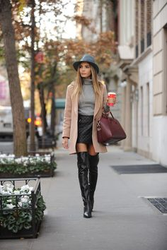 Jasmine Tosh Stewart wearing a superb pair of black leather thigh high boots and quilted black leather miniskirt Thigh High Boots Outfit, Knee High Boots, Sexy Stiefel, Leather Over The Knee Boots, Neue Outfits, Outfits With Hats, Sexy Boots, Ladies Dress Design, Thigh Highs