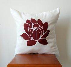 Red Lotus Pillow Cover: Hand Printed Decorative Pillow Cover 16x16 Natural White Linen with Red Hand Printed Lotus Design. $19.99, via Etsy.