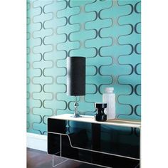 Interior Design Virtue Blue Wall Covering - Contour from Harlequin Graphic Wallpaper, Retro Wallpaper, Wall Wallpaper, Pattern Wallpaper, Wallpaper Ideas, Office Wallpaper, Modern Wallpaper, Harlequin Wallpaper, Motif Vintage