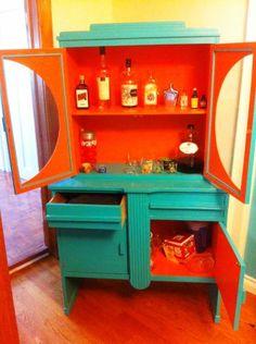 Painted art deco hutch/bar storage - bar looks sad, but I love the way the colors pop!
