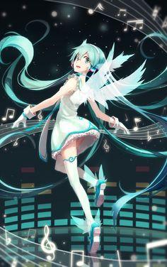 「天使ミク の舞」/「LF」のイラスト [pixiv] #Miku